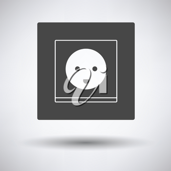 Austria electrical socket icon on gray background, round shadow. Vector illustration.
