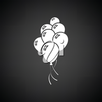 Party balloons and stars icon. Black background with white. Vector illustration.