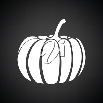 Pumpkin icon. Black background with white. Vector illustration.