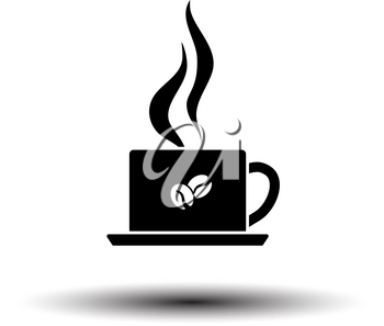 Smoking Cofee Cup Icon. Black on White Background With Shadow. Vector Illustration.