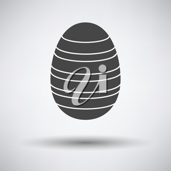 Easter Egg With Ornate Icon. Dark Gray on Gray Background With Round Shadow. Vector Illustration.