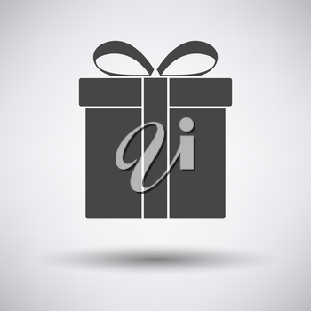Gift Box Icon. Dark Gray on Gray Background With Round Shadow. Vector Illustration.