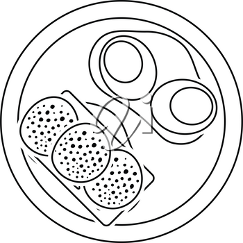 Omlet and sandwich icon. Thin line design. Vector illustration.