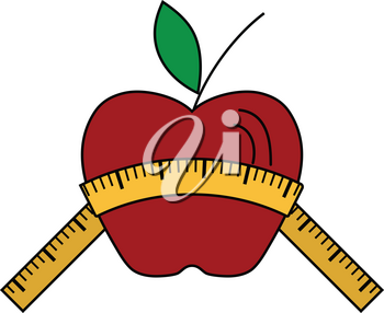Flat design icon of Apple with measure tape in ui colors. Vector illustration.