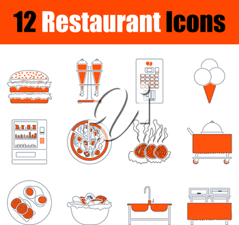Restaurant Icon Set. Thin Line With Orange Design. Fully editable vector illustration. Text expanded.
