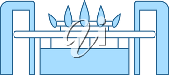 Gas Burner Icon. Thin Line With Blue Fill Design. Vector Illustration.