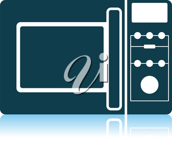 Micro Wave Oven Icon. Shadow Reflection Design. Vector Illustration.