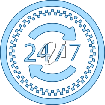 24 Hour Taxi Service Icon. Thin Line With Blue Fill Design. Vector Illustration.