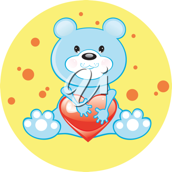 Royalty Free Clipart Image of a Bear With a Heart