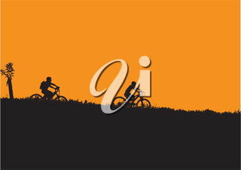 Royalty Free Clipart Image of  Children Riding Bikes