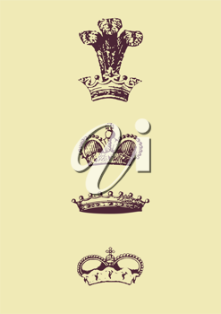 Royalty Free Clipart Image of  Crown Icons
