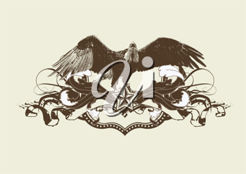 Royalty Free Clipart Image of an Eagle Banner