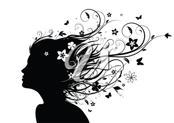 Royalty Free Clipart Image of a Silhouette of a Woman