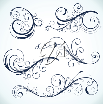 Royalty Free Clipart Image of Decorative Flourishes