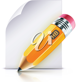 Royalty Free Clipart Image of a Pencil and Notes