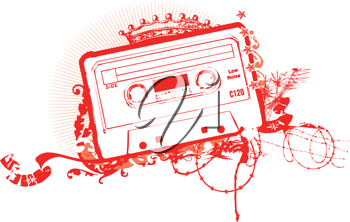 Royalty Free Clipart Image of a Cassette Tape Stencil