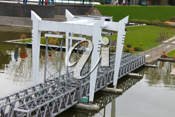 Miniature railway bridge in the park Madurodam. Netherlands, Den Haag.