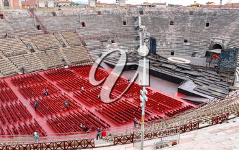 VERONA, ITALY - MAY 7, 2014: People inside Arena Verona - the place of annual festival operas in Verona, Italy