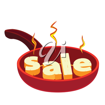 Royalty Free Clipart Image of the Word SALE on Hot Frying Pan