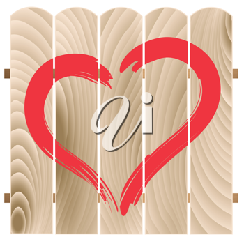 Royalty Free Clipart Image of a Painted Heart on Wooden Fence