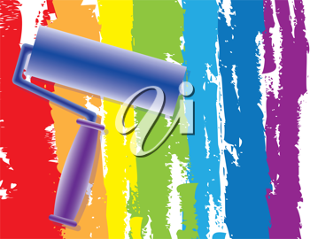 Abstract Rainbow drawing by painting roller