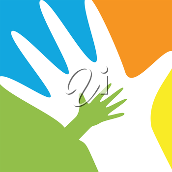 Child and parent hands silhouttes family concept vector image.
