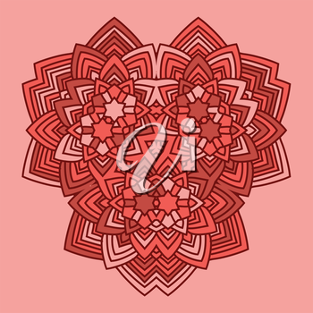 abstract red color flower mandala style vector illustration