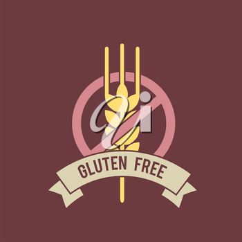 Gluten free inscription with stop sign and wheat symbol. Vector illustration. Meal ingredients healthcare emblem.