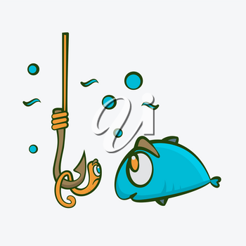 Fish and worm on fishing hook funny kids vector illustration.