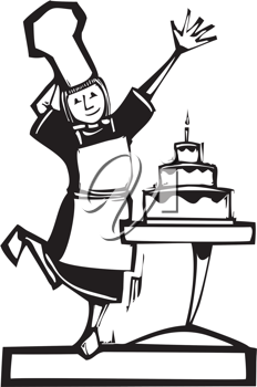 Royalty Free Clipart Image of a Female Baker By a Cake