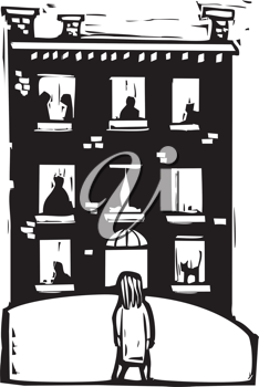 Royalty Free Clipart Image of  a Child Looking at an Apartment Building
