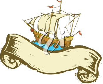 Royalty Free Clipart Image of a Ship With a Banner