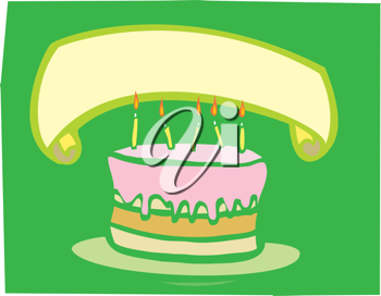 Royalty Free Clipart Image of a Birthday Cake With Banner