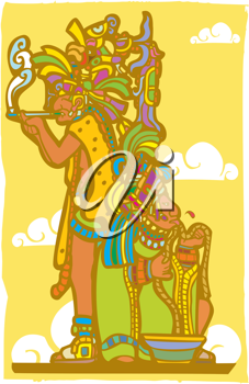 Royalty Free Clipart Image of Two Mayan Priests