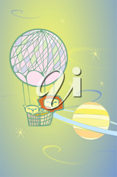 Royalty Free Clipart Image of Lions in a Hot Air Balloon