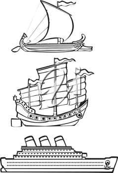 Royalty Free Clipart Image of Three Different Types of Ships