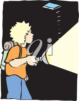 Royalty Free Clipart Image of a Boy Exploring a Cave