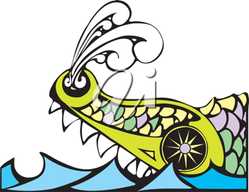 Royalty Free Clipart Image of the Biblical Leviathan