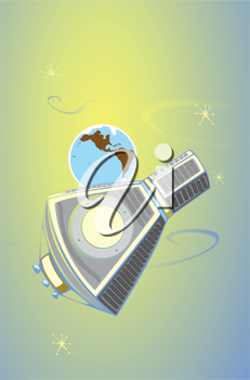 Royalty Free Clipart Image of a Mercury Space Capsule in Orbit of Earth