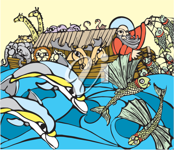 Royalty Free Clipart Image of Noah in the Ark With Animals