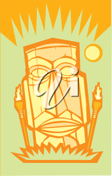 Royalty Free Clipart Image of a Tiki Man