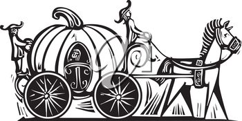 Fairytale Cinderella in Pumpkin carriage rendered in a woodcut style