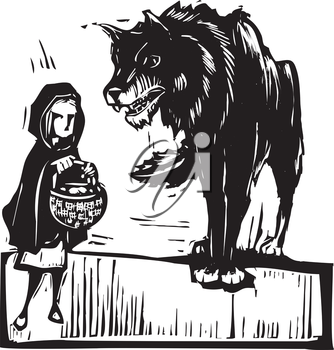 Woodcut style expressionist image of little red riding hood meeting the big bad wolf.