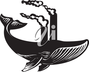 Royalty Free Clipart Image of a Whale With Factory Spouts