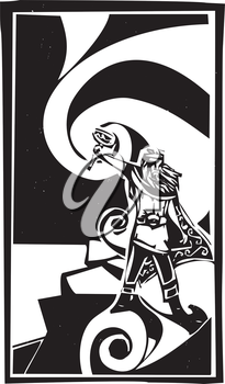 Woodcut style image of the Viking God Thor with swirling clouds.