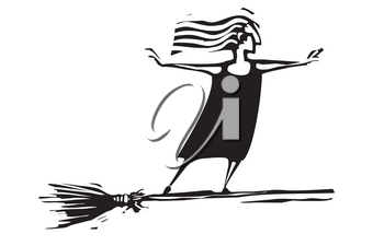 Woodcut style expressionistic witch on a broom