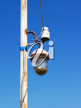 Old electric street lamp close up