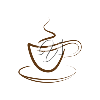 Royalty Free Clipart Image of a Steaming Cup of Coffee Drawing