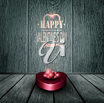 Valentine's Day Background With Giftbox, Hearts And Title Inscription On A Wooden Floor