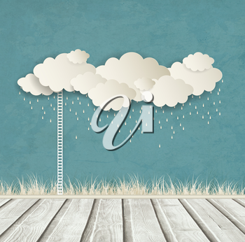 Vintage Design With Clouds